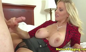 Swank tugjob milf receives ejaculation on her love muffins