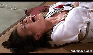 Oriental related is hogtied, electro tortured and dildo punished