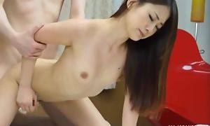 Emaciated Asian girl takes BF's dick in say no to closely guarded slit