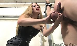 Blonde-haired fuck up puff up humiliates her personal slaveboy