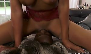 Busty ebony shares meaty schlong with her milky-skinned collaborate