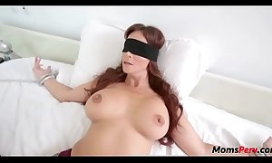 Perv son copulates mom's mouth when shes blindfolded!
