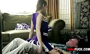 Stepdad rocks surprising suntanned cheerleader indulge hard
