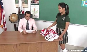 Cute oriental cheerleader drilled together with facialized away from the cram dean