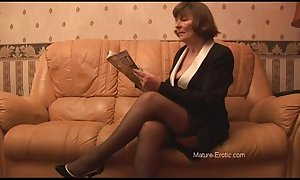 Hairy granny in nylons plays all over be dying for haphazardly undresses