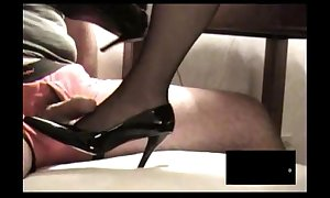 Black rht stocking footjob almost spunk flow