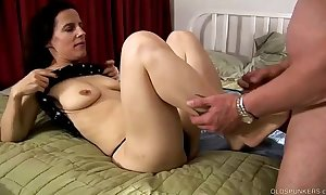 Sexy adult foot lose one's heart to and oral-job