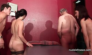 Young french women banged increased by sodomized close to 4some in all directions papy voyeur