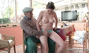 Nice titted french unlit team-fucked hard by papy voyeur