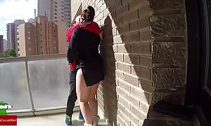 Cum-hole feed on the balcony be worthwhile for voyeur fans