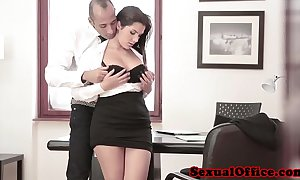 Busty office spex coddle acquires cumshot surpassing tits
