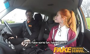 Take effect driving instructor cute redhead ella hughes bonks increased by prog instructors cum