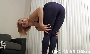 Wait for me reach my yoga encircling my covetous black spandex joi