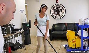 Bangbros - a difficulty one-time purifying slutty wife swallows a load!