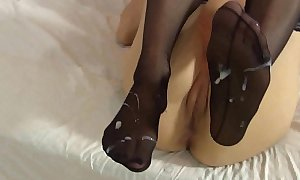 Lelulove stockings footjob with ejaculation