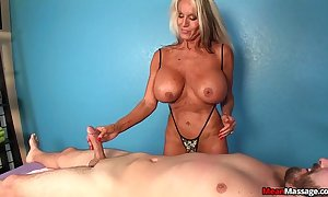 Experienced wife martinet handjob
